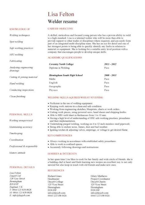 Exle Of Objectives In Resume For Welder by Welder Resume Exles