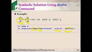 Me 340  Example  Solving Odes Using Matlab U0026 39 S Dsolve