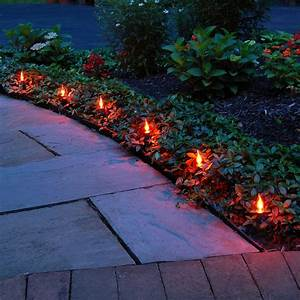 Solar Powered Halloween Stake Lights Electric Pathway Kit Flickering Flame Orange 10l Lumabase