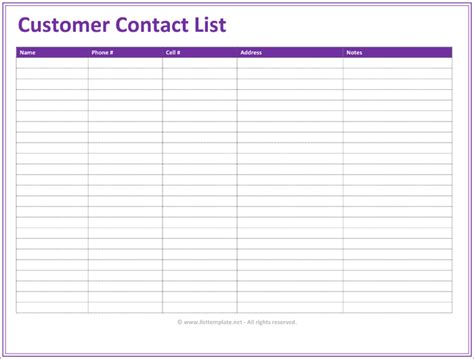 customer contact list template   contact lists