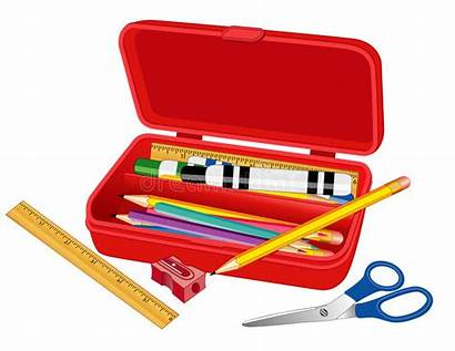Pencil Box Supplies Clip Case Clipart Ruler