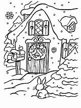 Coloring Christmas Pages Xmas Fireplace Printable Alone Cottage Village Houses Santa Sheets Town Coloriage Colouring Hundreds Denoel Adult Activity Books sketch template