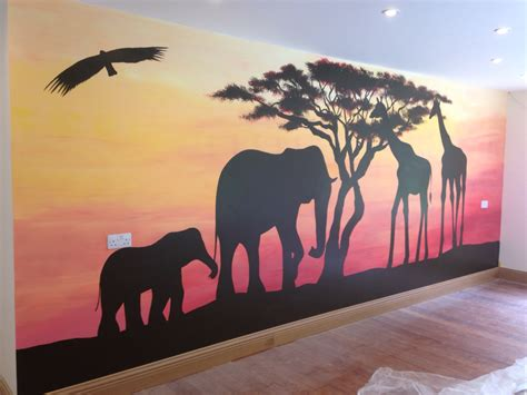 painting for home interior decor animals and trees wall mural with