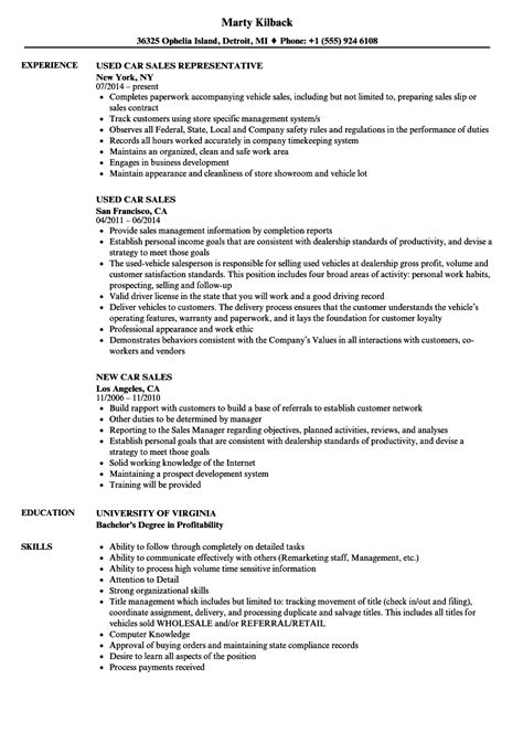 Car Salesman Resume Exle by Resume For Car Salesman Car Salesman Cv Sle