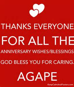 thanks everyone for all the anniversary wishes blessings