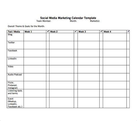 social media caign template 8 sle social media calendar templates to sle templates