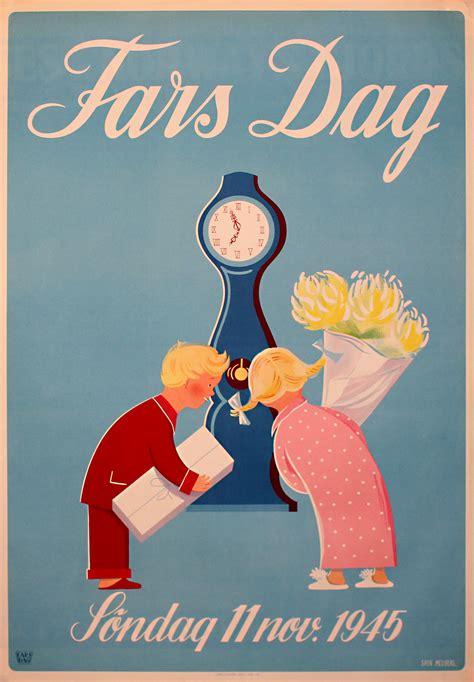 original vintage poster fars dag  november
