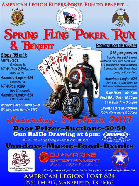 American Legion Post 624 Spring Fling Poker Run & Benefit. Jobs For Recent Graduates. Bingo Card Template Free. Online Dating Profile Template. Top Biomedical Engineering Graduate Schools. Simple Resume Template Microsoft Word 2010. Brochure Template For Google Docs. 29 Cribbage Board Template. Wild West Poster