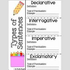 Freebie Types Of Sentences Definition Sheet  Projects To Try  Types Of Sentences, Third Grade