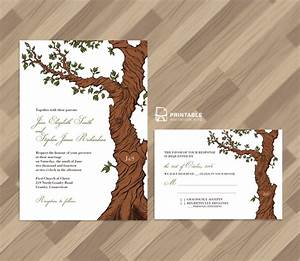 Free pdf rustic wedding invitation and rsvp template for Free printable tree wedding invitations