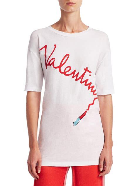 valentino t shirt lyst valentino logo lipstick t shirt in white