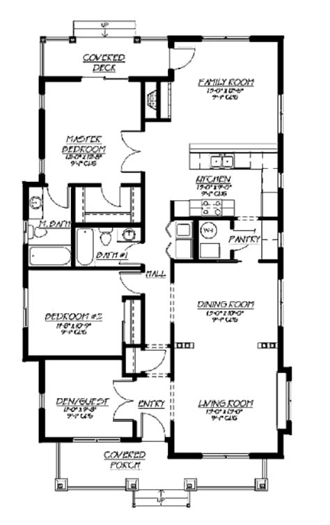 Bungalow Style House Plan 3 Beds 2 Baths 1500 Sq/Ft Plan