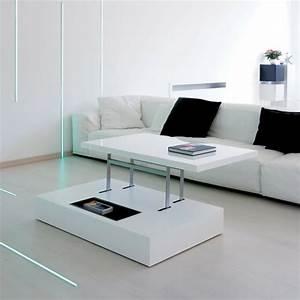 Table Basse Relevable Blanche : la table basse relevable pour votre salon fonctionnel ~ Teatrodelosmanantiales.com Idées de Décoration