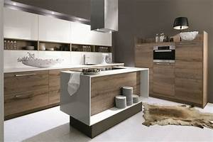 Cuisine bois moderne modele de cuisine equipee meubles for Petite cuisine équipée avec chaise blanche et bois