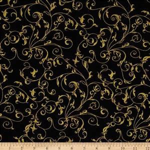 "110"" Wide Quilt Backing Filigree Black/Gold - Discount"