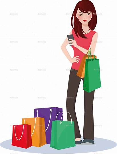 Shopping Clipart Woman Transparent Graphicriver Webstockreview Nael