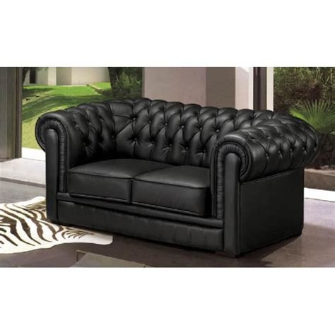 canape cuir chesterfield canapé 2 places chesterfield cuir noir achat vente