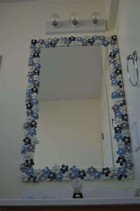 How To Decorate A Bathroom Mirror by Glass Gems With Pearl Marble Centers To Dress Up A