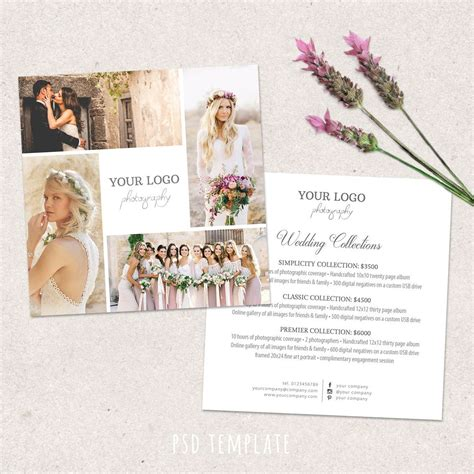 wedding photography price list template marketing