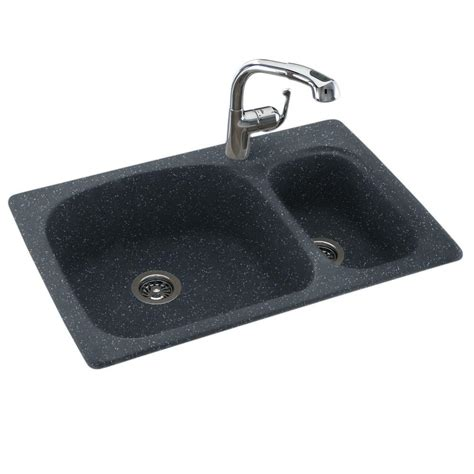 small black kitchen sink swan drop in undermount solid surface 33 in 1 70 30 5355