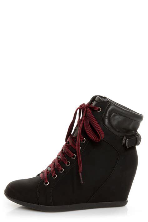 bamboo mariela  black lace  wedge sneakers