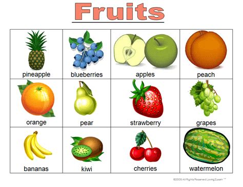 Learning New Words Fruit Words Game, Word Cards, Chart And Learning Videos