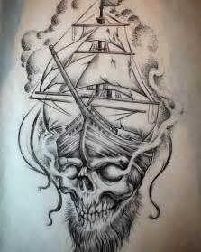 Pirate Ship Tattoo Drawing