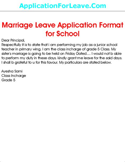 formal letter  leave application  principal