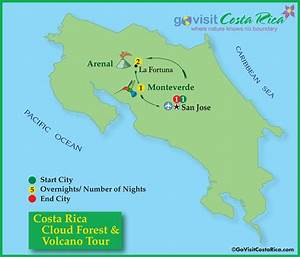Costa Rica Cloud Forest & Volcano Tour Map, Costa Rica ...