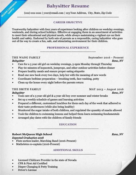 Babysitting On A Resume by Resume Sle Writing Tips Resume Companion
