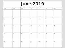 Editable Calendar June 2019 Calendar Qualads