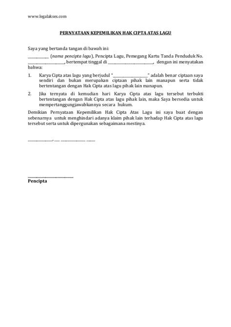 surat pernyataan kepemilikan hak cipta atas lagu