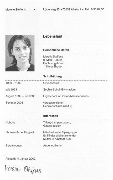 Bewerbung Und Lebenslauf by Bewerbung Und Lebenslauf Doppelschl 252 Ssel