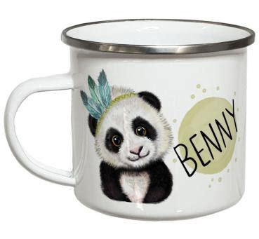 le mit namen emaille becher mit namen und panda motiv personalisierte geschenke my sweetheart 174
