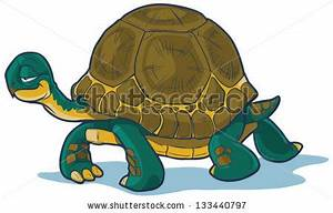Cartoon tortoise walking forward with a slow, steady gait ...