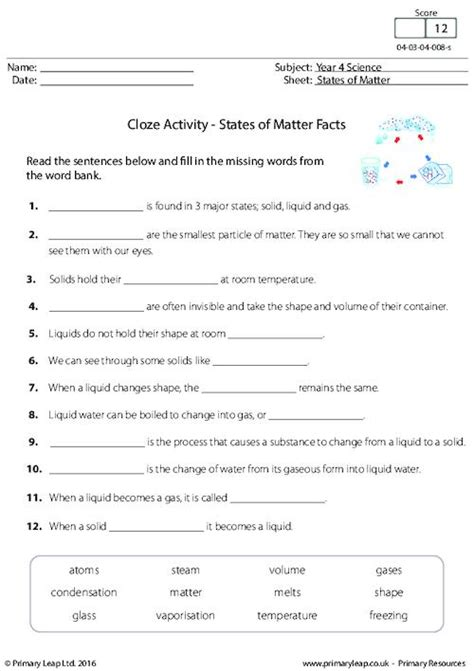 science cloze activity states  matter facts worksheet