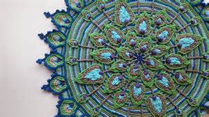 Spanish Wall Decor by Overlay Crochet Peacock Feather Mandala Pattern Crocheted