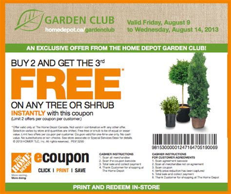 the home depot canada garden club coupons buy 2 get the