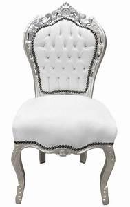 Chaise Style Baroque : chaise de style baroque rococo simili cuir blanc et bois argent ~ Teatrodelosmanantiales.com Idées de Décoration