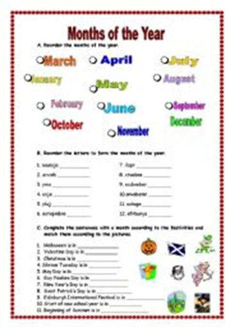 english worksheets the months of the year worksheets page 13