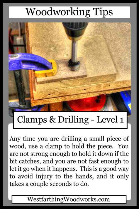 woodworking tips cards clamps  drilling