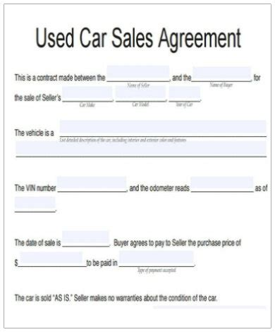 vehicle agreement templates google docs ms word pages