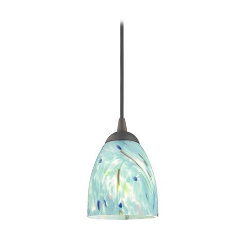 bronze mini pendant light with turquoise glass 582