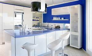 sky blue glass subway tile backsplash in modern white With kitchen cabinets lowes with large blue wall art