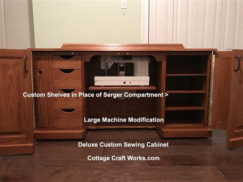 Custom Sewing Machine Cabinets by Amish Deluxe Sewing Machine Cabinet With A Serger Lift