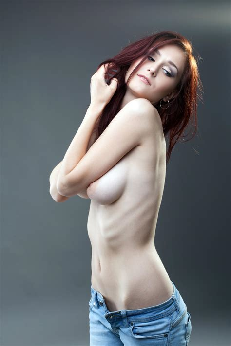 Nude Sexy Young Woman In Jeans Hide Breast By Karimparba