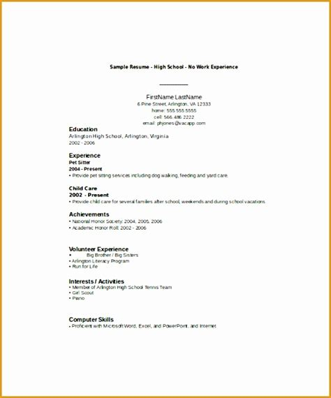 Experience Resume Template by 8 Resume Sle For High School Students With No