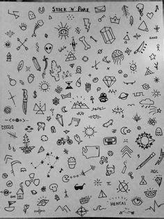 A bunch of little doodles … | Sharpie tattoos, Stick n