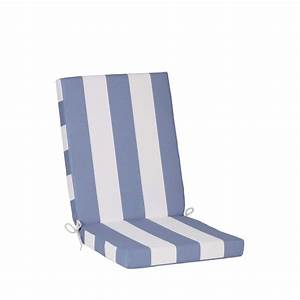 Coussin De Fauteuil De Jardin : coussin assise et dossier chaise ou fauteuil blanc bleu ~ Dailycaller-alerts.com Idées de Décoration
