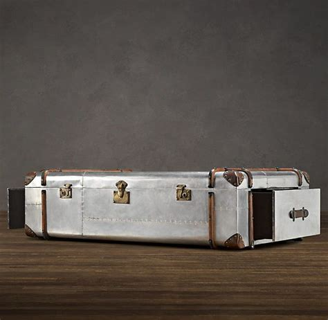 Get up to 70% off now! RH Coffee Table | Coffee table trunk, Aluminum table, Metal trunks